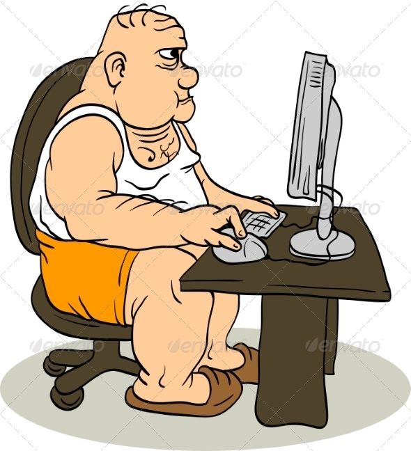 GraphicRiver Fat Man At The Computer 8487402