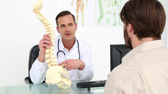 Doctor Showing His Patient A Model Of A Spine