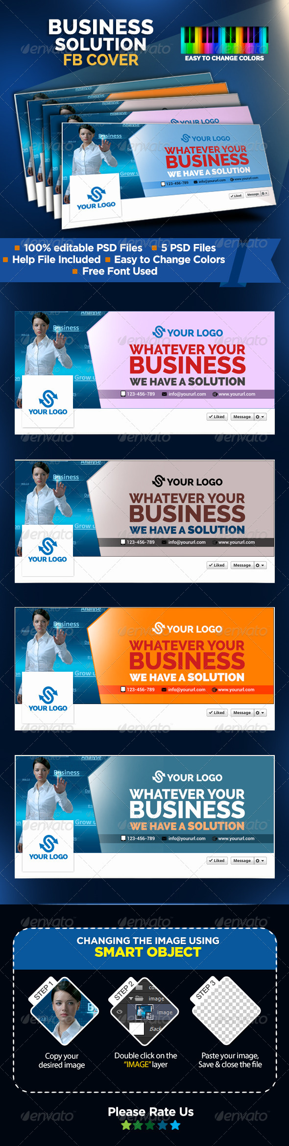 GraphicRiver Business Solutions Facebook Covers 8487987