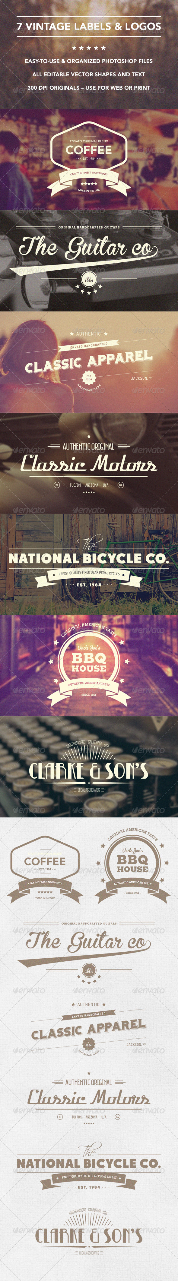 GraphicRiver 7 Vintage Labels And Insignias 8486429
