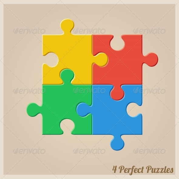 GraphicRiver Four Colourful Puzzle Pieces 8488260