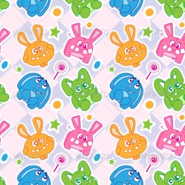 GraphicRiver Funny Bunny Seamless Wallpaper 8488449