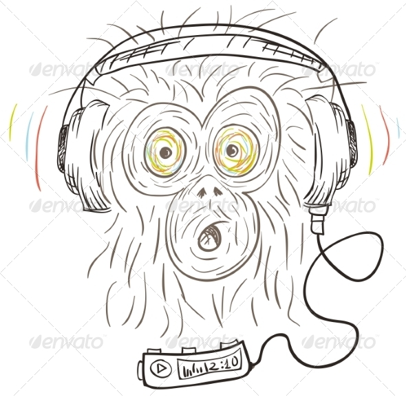 GraphicRiver Monkey Listens to Music 8488622