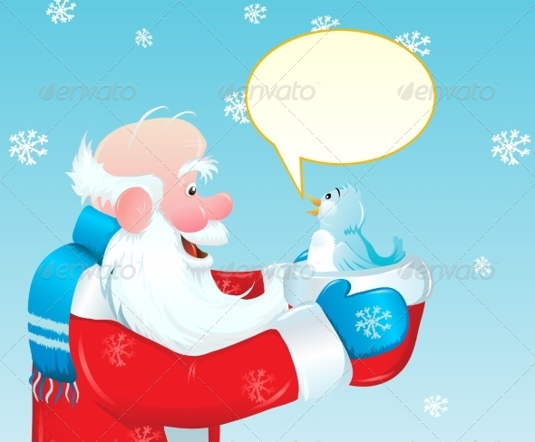 GraphicRiver Santa and the Blue Bird 8488908
