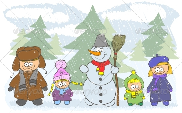 GraphicRiver Happy Family with Two Kids Near a Snowman 8489073