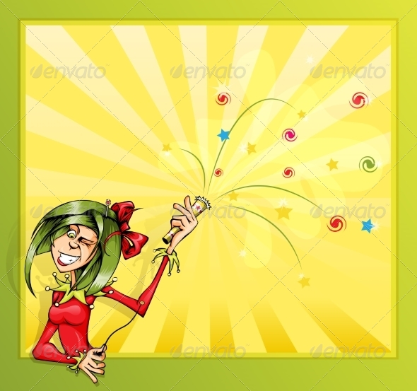 GraphicRiver Jester Girl with Firecrackers 8489115