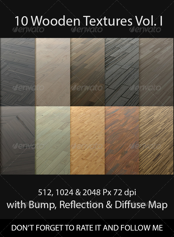 10 Wooden Floor Tileable Texture Vol. I - 3DOcean Item for Sale