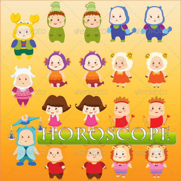 GraphicRiver 12 Horoscope Cartoon Characters 8489145