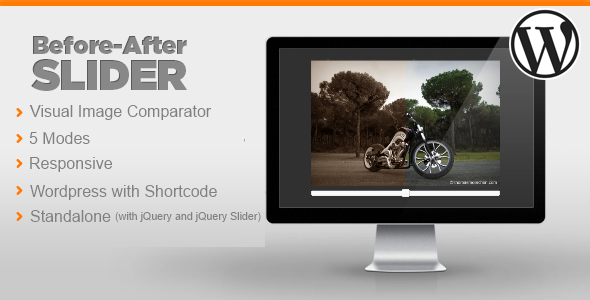 The Before After Image Slider for Wordpress allows you to show and compare two pictures using multiple methods. Main Features 5 Modesfor the slide e