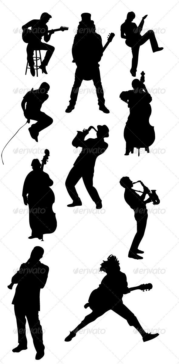 GraphicRiver Musician Silhouettes 8489175