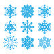 Snowflakes, Winter Blue Vector Icons Set - GraphicRiver Item for Sale