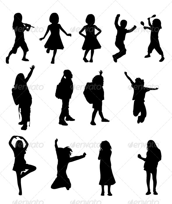 GraphicRiver Kids Silhouettes 8489425