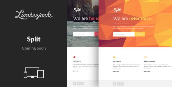 ThemeForest Split Responsive Coming Soon Template 8490394