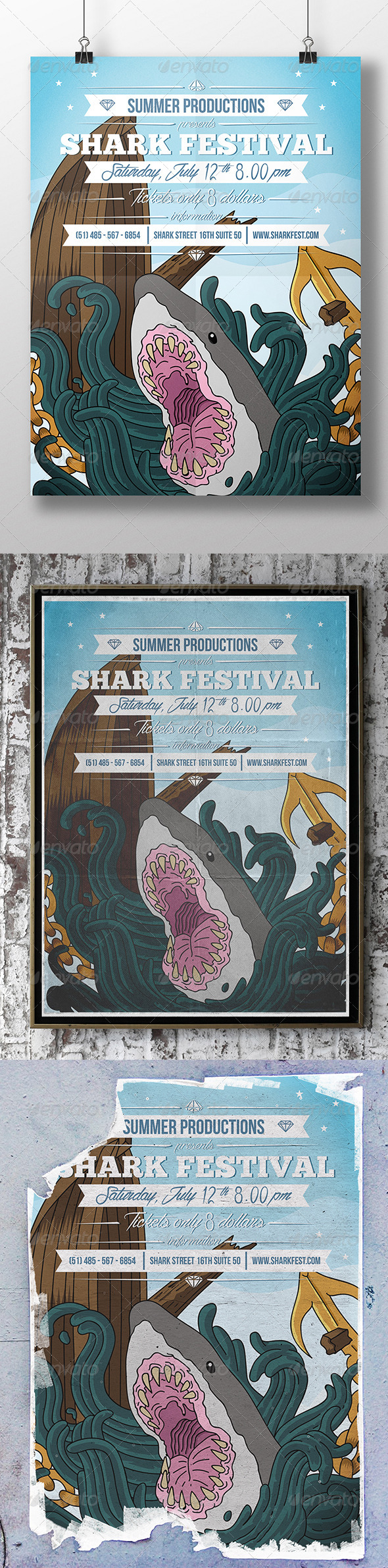 GraphicRiver Shark Around Party Flyer 8490404