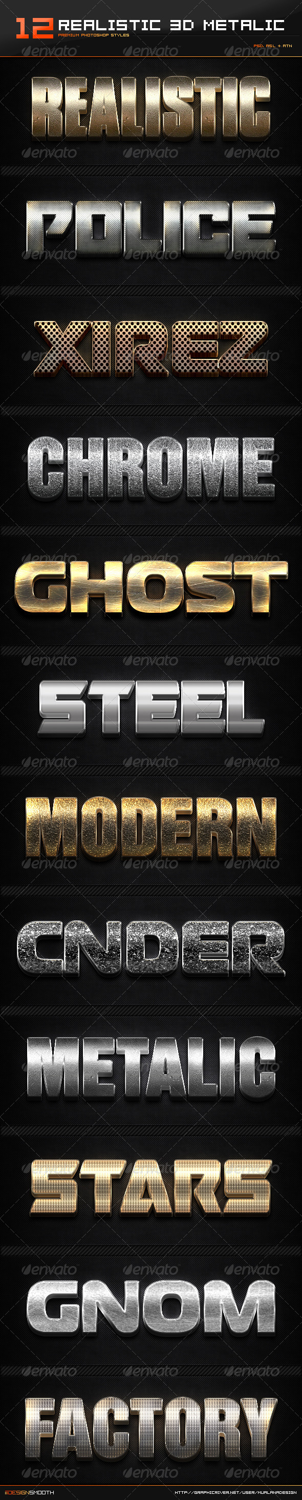 GraphicRiver 12 Realistic 3D Metallic Styles & Actions 8490841