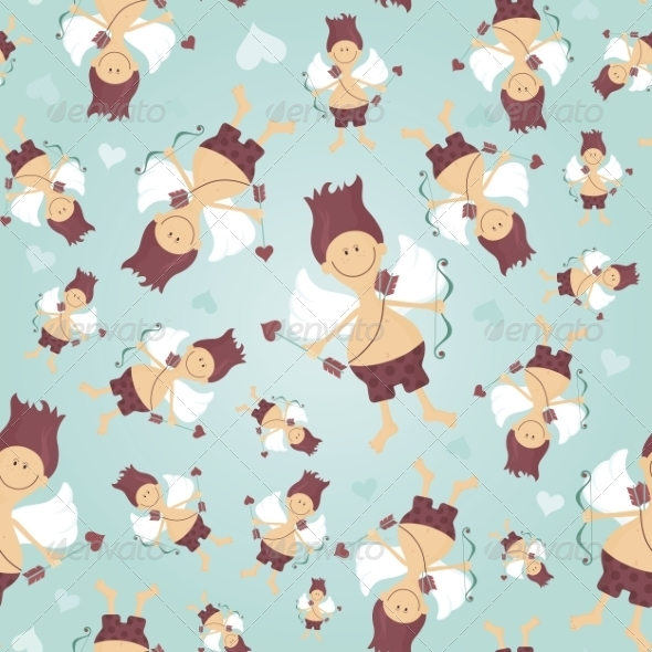 GraphicRiver Seamless Pattern with Cupid 8490896