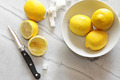Fresh lemons and sugar cubes on marble counter - PhotoDune Item for Sale