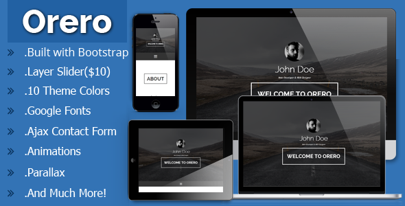 ThemeForest Orero Responsive One Page vCard Template 8491032