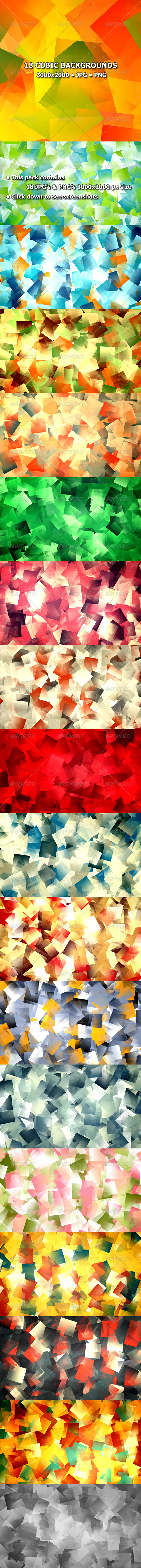 GraphicRiver 18 Cubic Backgrounds 8491102