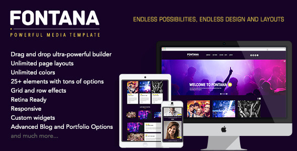 Fontana is ultra responsive, retina ready, and built on Twitter Bootstrap framework. It features a clean, modern and interesting design, packed with the super