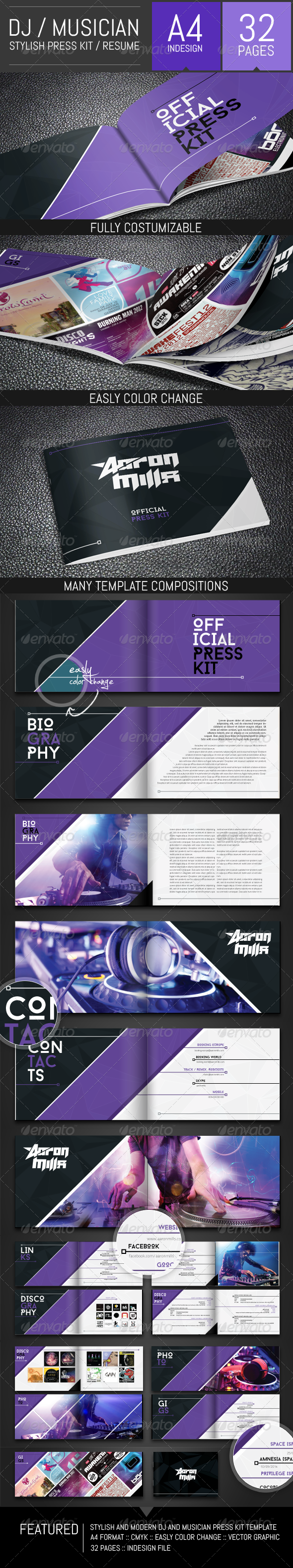 GraphicRiver DJ and Musician Press Kit Resume Template 8487637