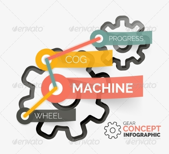 GraphicRiver Gear Infographic Concept with Tag Connection 8492684