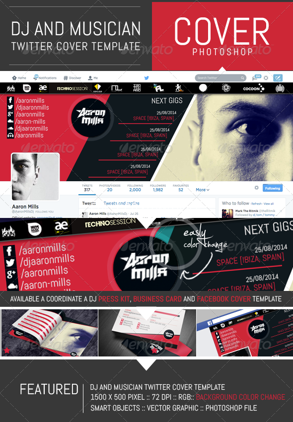Dj and musician twitter cover template graphicriver for Dj press kit template free