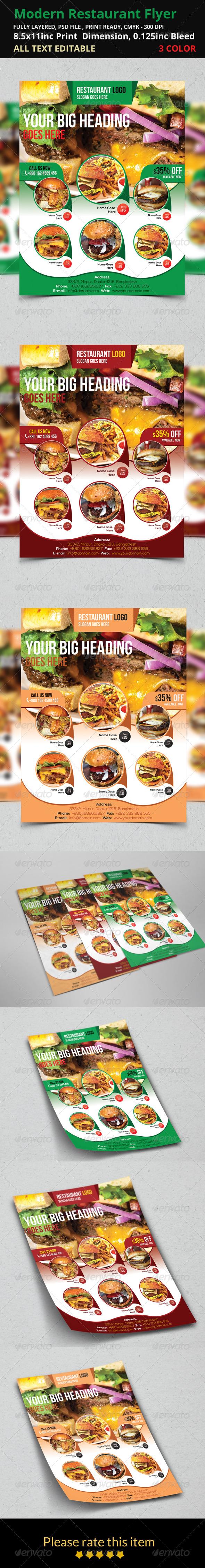 GraphicRiver Modern Restaurant Flyer 8492937