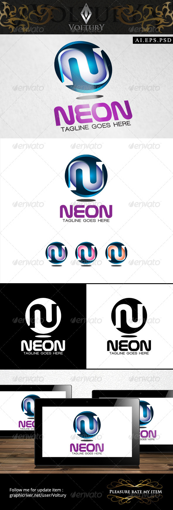 GraphicRiver Neon Letter N 3D Logo 8493865