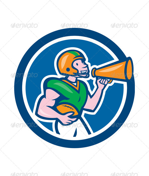 GraphicRiver American Football Quarterback Bullhorn Cartoon 8494363