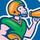 American Football Quarterback Bullhorn Cartoon - GraphicRiver Item for Sale
