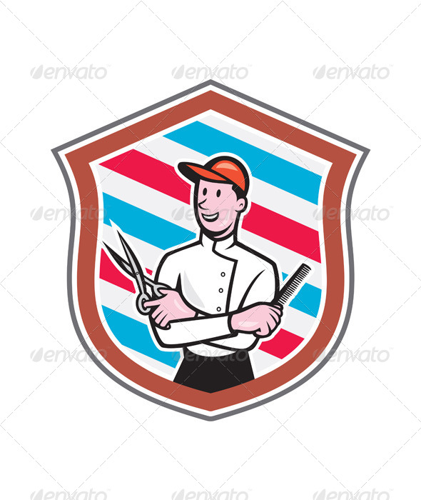 GraphicRiver Barber Holding Scissors Comb Shield Cartoon 8494364