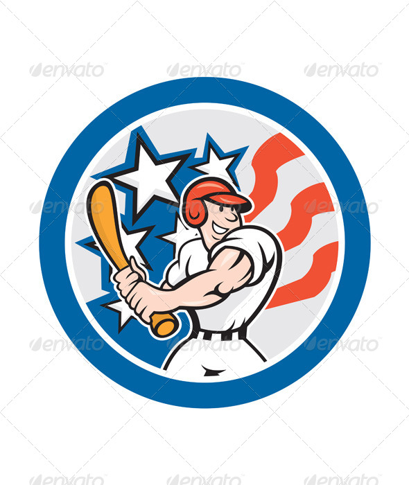 GraphicRiver American Baseball Player Batting Circle Cartoon 8494370