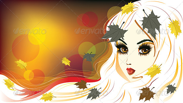 GraphicRiver Autumn Girl with White Hair 8494449