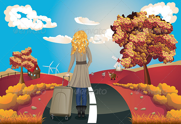 GraphicRiver Autumn Landscape with Girl 8494450