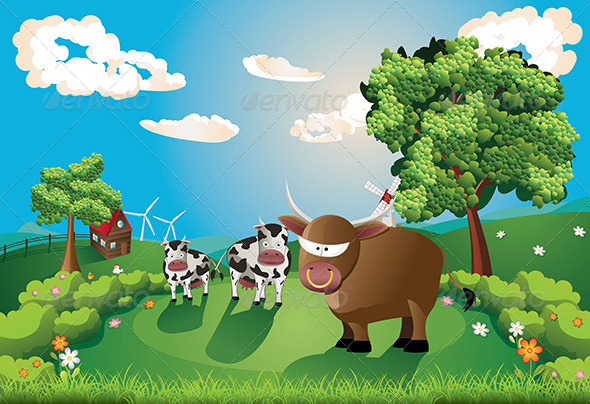 GraphicRiver Cows and Bull on Lawn 8494452