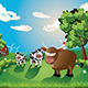 Cows and Bull on Lawn - GraphicRiver Item for Sale