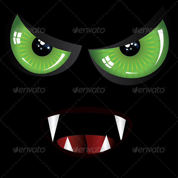 GraphicRiver Evil Face with Green and Red eyes 8494456