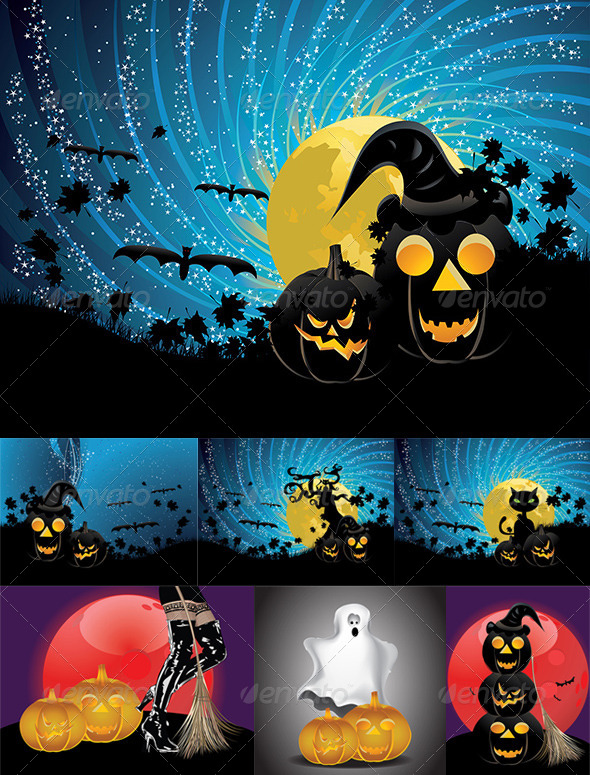 GraphicRiver Halloween Party Background with Pumpkins 8494458