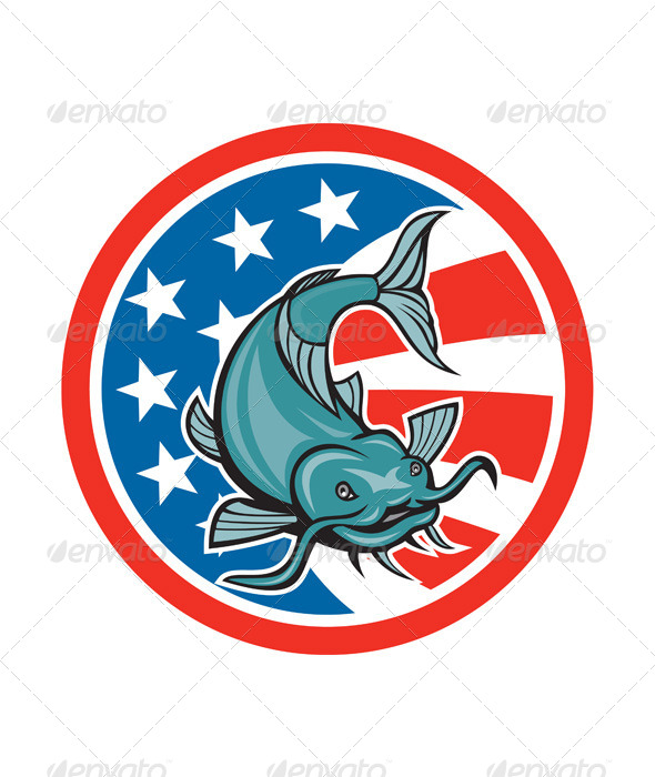 GraphicRiver Catfish Swimming American Flag Circle Cartoon 8494570