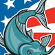 Catfish Swimming American Flag Circle Cartoon - GraphicRiver Item for Sale