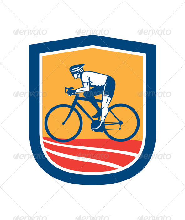 GraphicRiver Cyclist Riding Bicycle Cycling Side View Retro 8494572