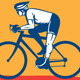 Cyclist Riding Bicycle Cycling Side View Retro