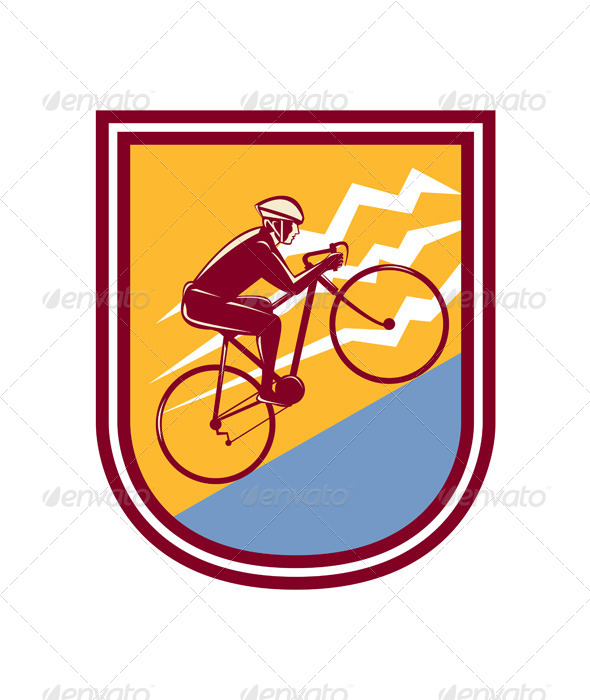 GraphicRiver Cyclist Riding Mountain Bike Uphill Retro 8494573