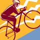 Cyclist Riding Mountain Bike Uphill Retro - GraphicRiver Item for Sale