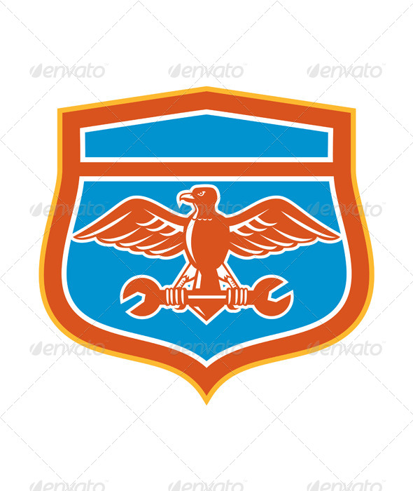 GraphicRiver Eagle Holding Spanner Shield Retro 8494578