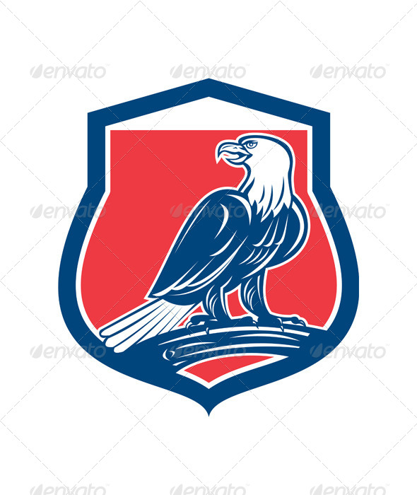 GraphicRiver Bald Eagle Perching Shield Retro 8494580