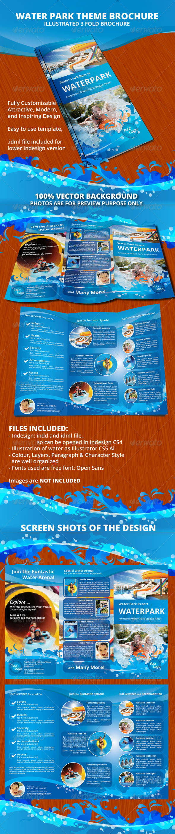 GraphicRiver Water Park Theme Trifold Brochure 8494712