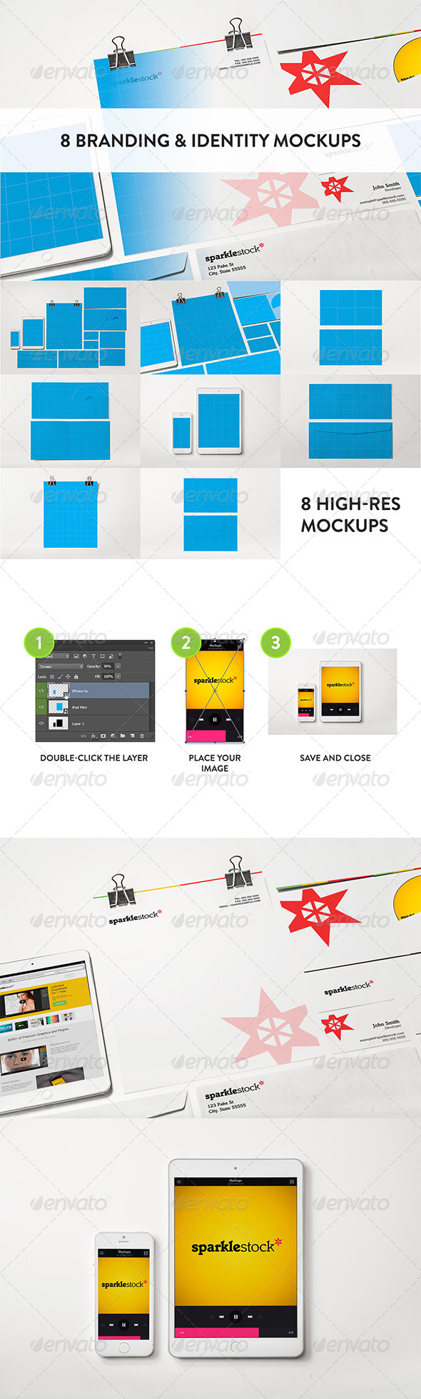 GraphicRiver 8 Clean Identity & Branding Mockups 8494828