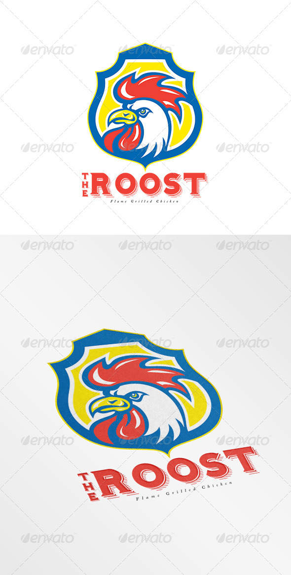 GraphicRiver The Roost Flame Grilled Chicken Logo 8495000